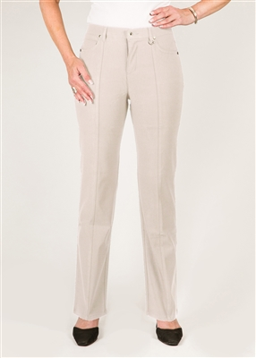 Simon Chang 5 Pocket Straight Leg Microtwill Pants Style # 3-5302X - Colour: Stone - [PLUS SIZE]  14 Plus left in stock